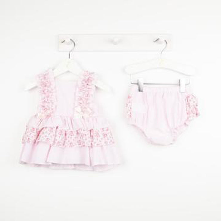 Pink Candy Stripe Floral Dress Set