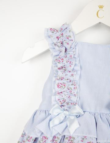 Sky Blue Candy Stripe Floral Dress Set