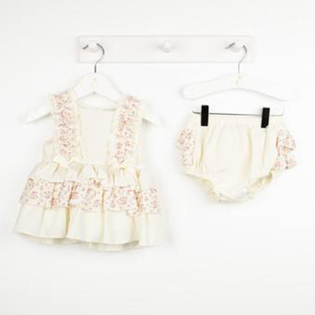 Lemon Candy Stripe Floral Dress Set