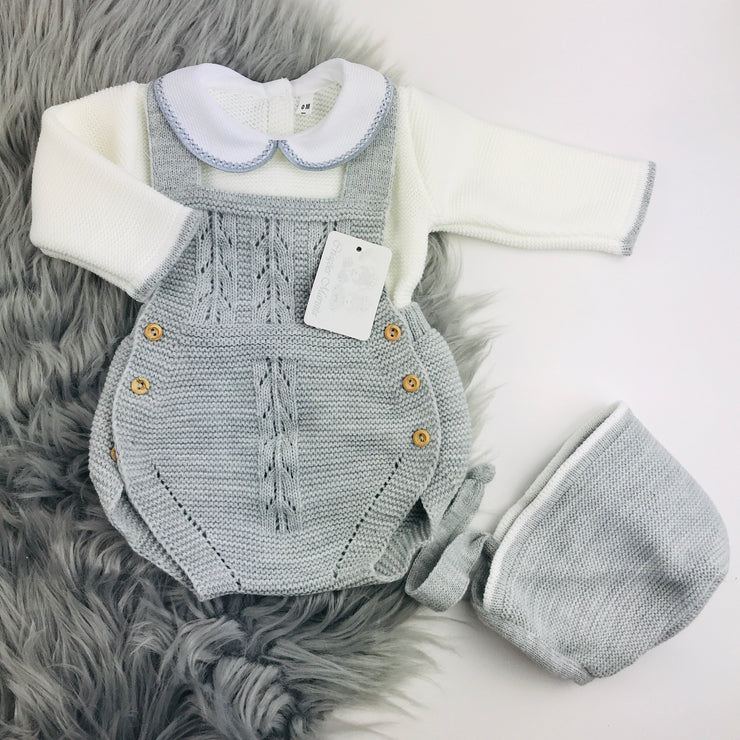 Grey & Cream Knitted Romper & Bonnet