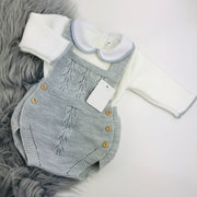 Grey & Cream Knitted Romper
