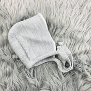 Grey & Cream Knitted Bonnet