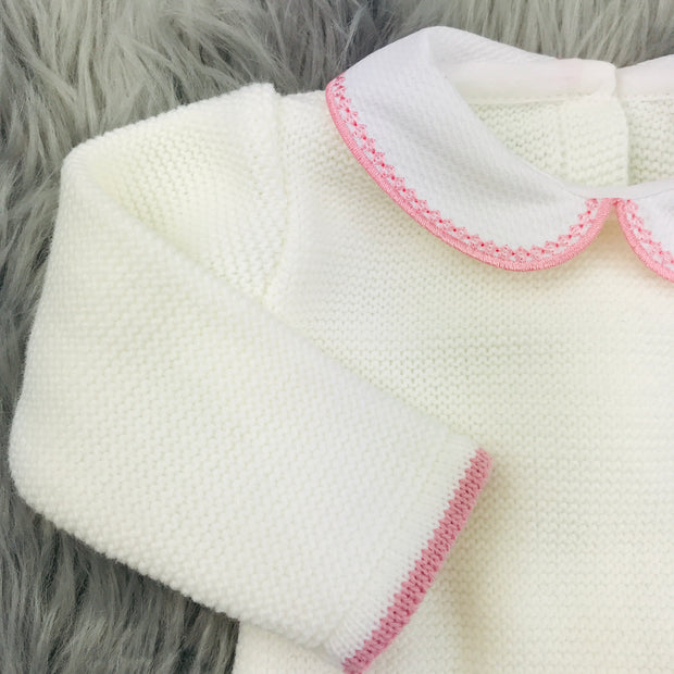 Dusky Pink & Cream Knitted Top Close