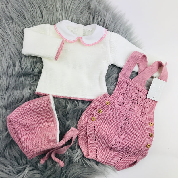Dusky Pink & Cream Knitted Romper Bonnet Separates
