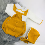 Mustard & Cream Knitted Romper & Bonnet