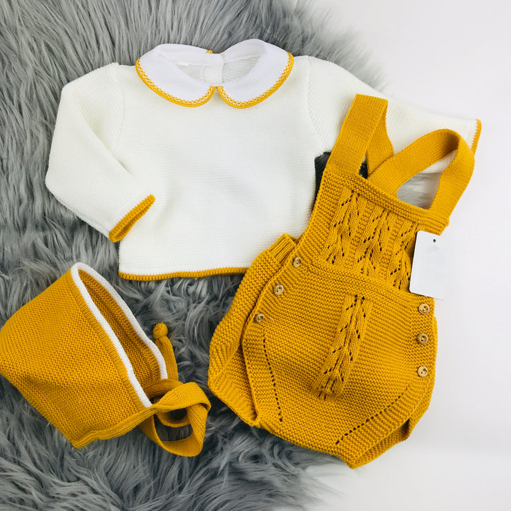 Mustard & Cream Knitted Romper