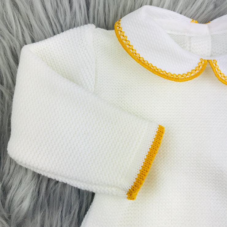 Mustard & Cream Knitted Top Close