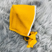 Mustard & Cream Knitted Bonnet