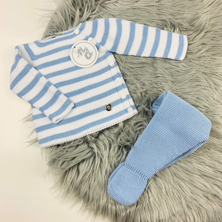 Dusky Blue & White Knitted Set