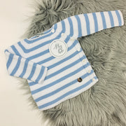 Dusky Blue & White Knitted Set Top