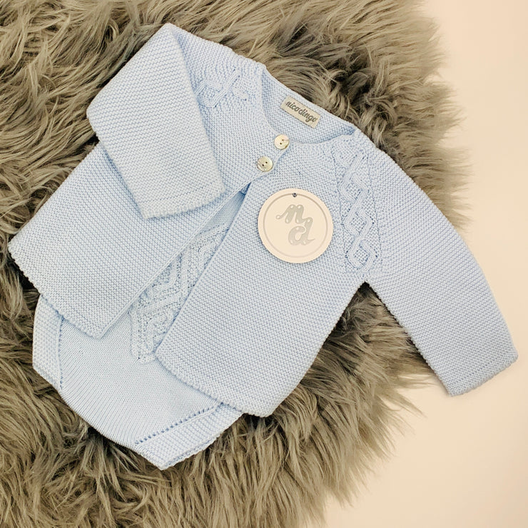 Blue Knitted Dungaree Romper & Cardigan