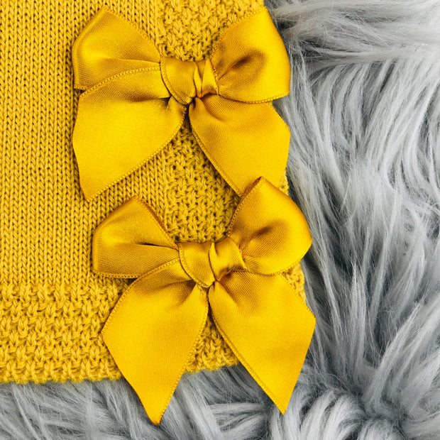 Mustard Knitted Bows