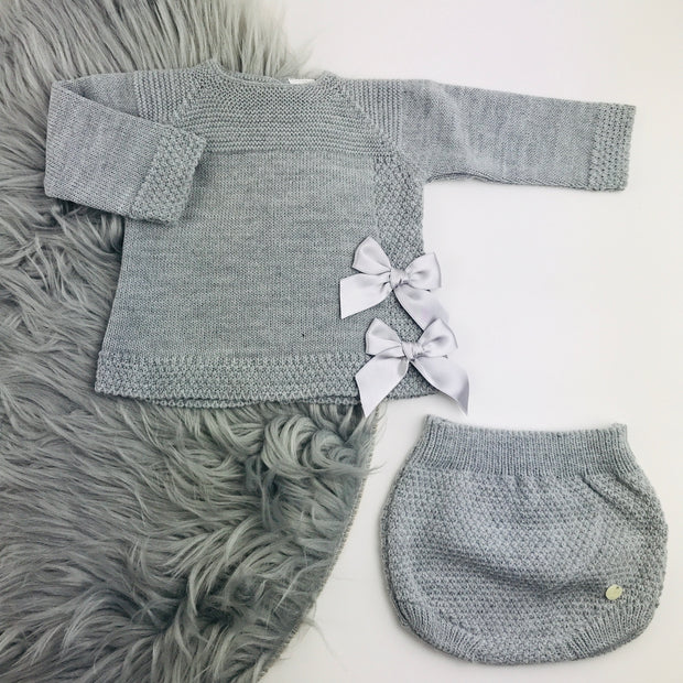 Grey Knitted Jam Pant Set