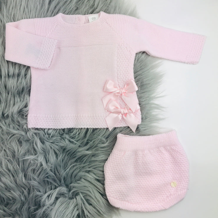 Pink Knitted Jam Pant Set