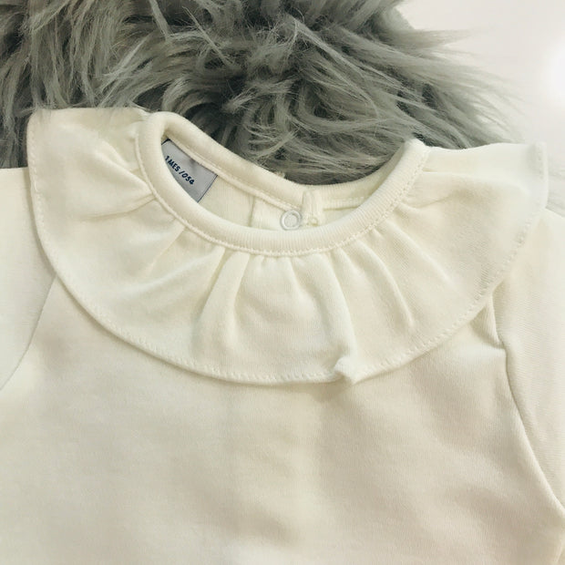 Ruffle Collar Long Sleeve Cream Body Vest Close