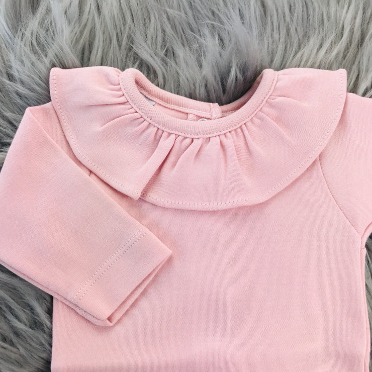 Ruffle Collar Long Sleeve Dusky Pink Body Vest Close