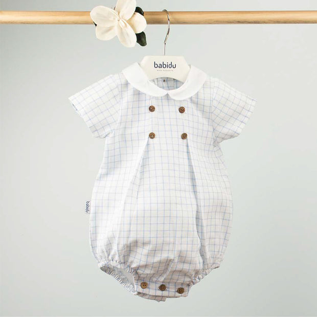 White & Blue Graph Check Romper