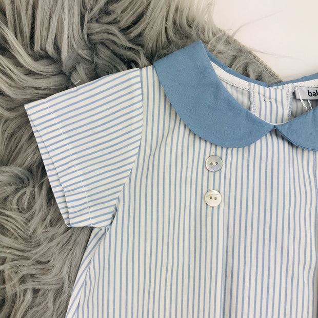 White & Blue Striped Romper Close