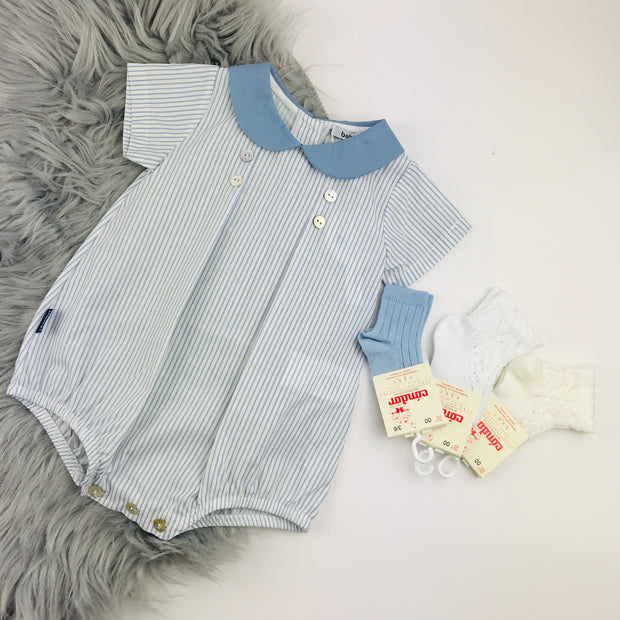 White & Blue Striped Romper