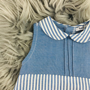Navy Blue Striped Romper Close