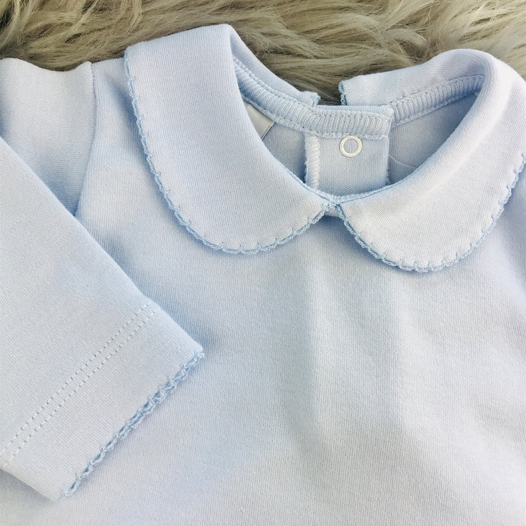 Blue Peter Pan Collar Long Sleeve Vest Close