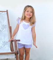 Girls White & Lavender Spanish Short Set