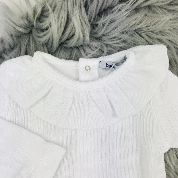 White Ruffle Collar Knitted Vest
