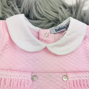 Pink Quilted Effect Sleepsuit Collar