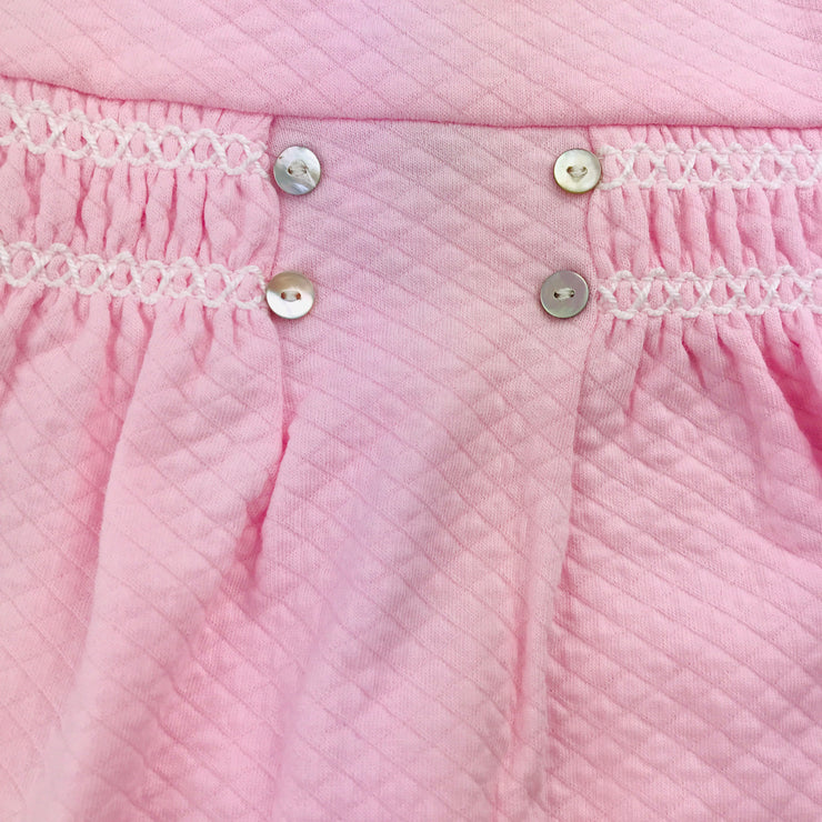 Pink Quilted Effect Sleepsuit Smocking Close