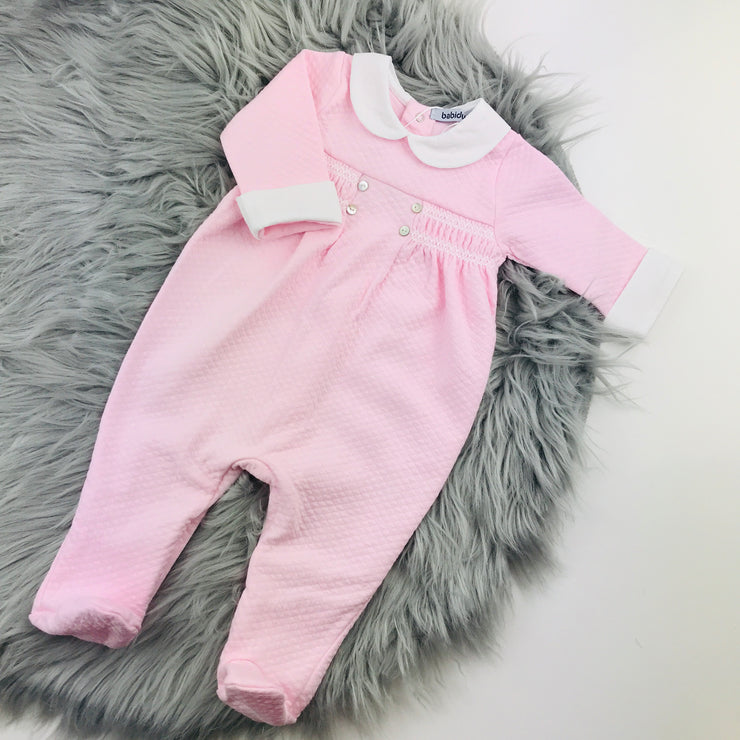 Pink Quilted Effect Sleepsuit
