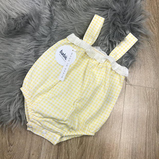 Yellow & White Checked Romper