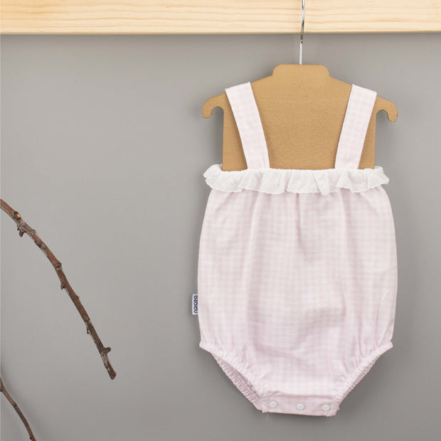 Pink & White Checked Romper hanging