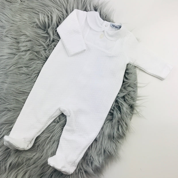 Babidu White Quilted Effect Sleepsuit