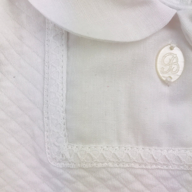 White Quilted Effect Sleepsuit Button
