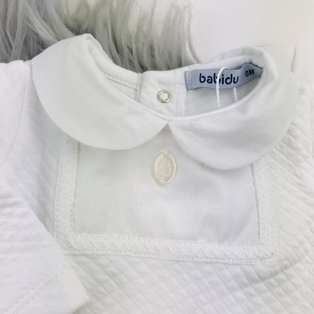 Babidu White Quilted Effect Sleepsuit Chest Panel