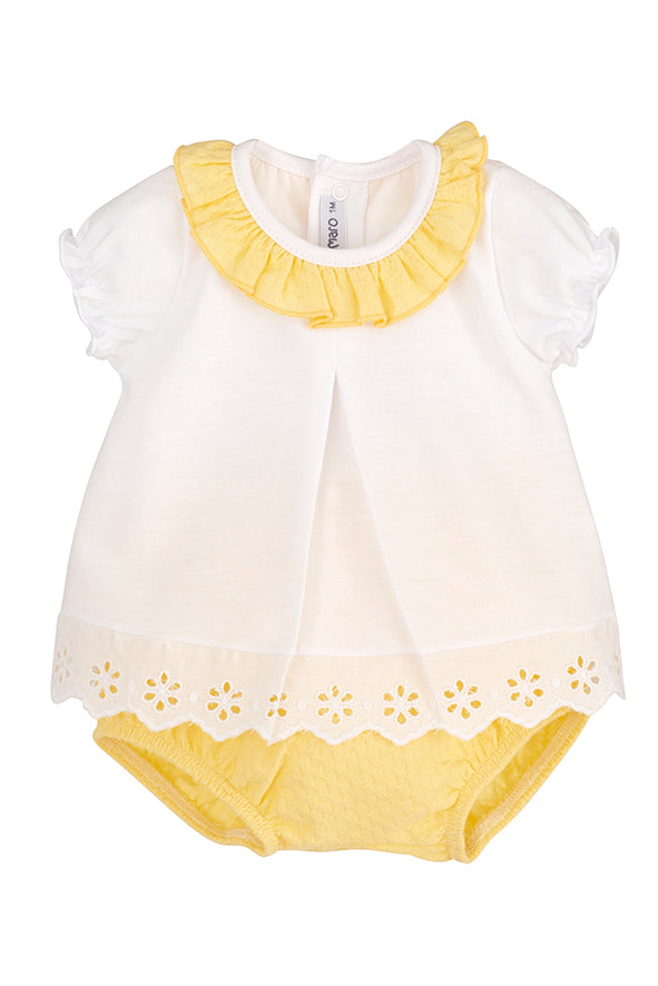 White & yellow Jam Pant Set