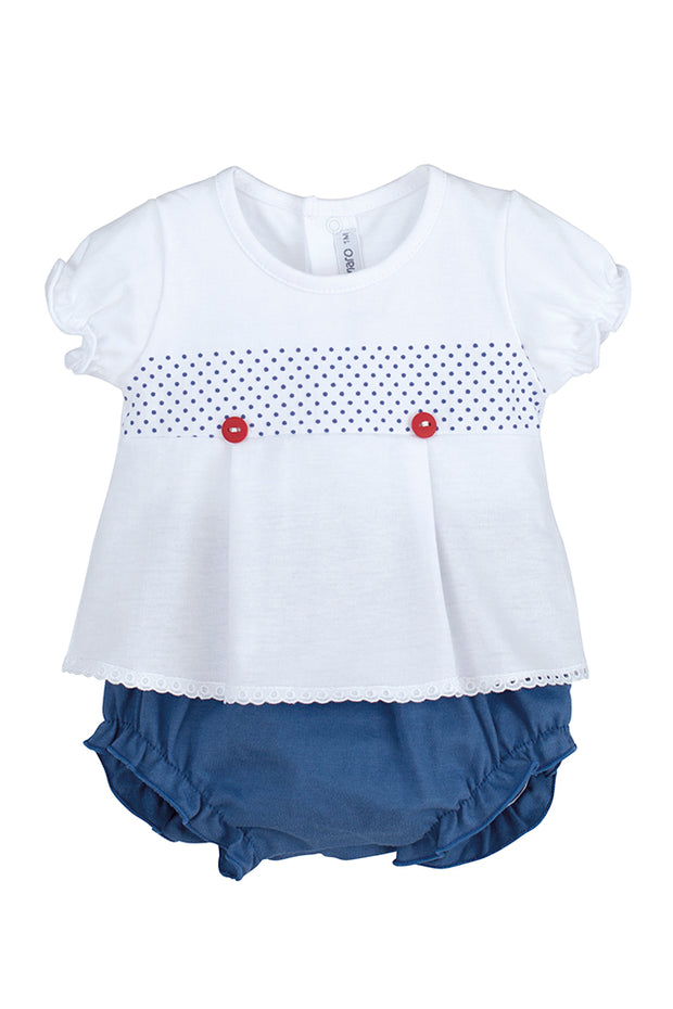 Girls White & Navy Short Set