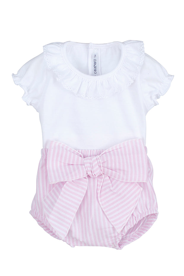 White Top & Pink Stripe Jam Pants Set