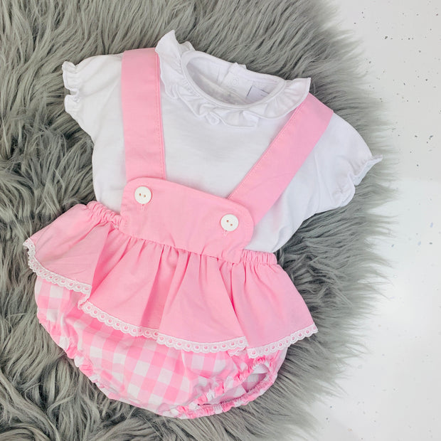White Top & Pink Check Dungaree Romper Set