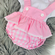 Pink Check Dungaree Romper Close