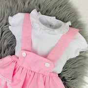 White Top & Pink Check Dungaree Romper Set Top