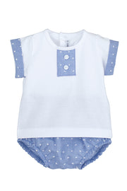 White & Blue Jam Pants Set