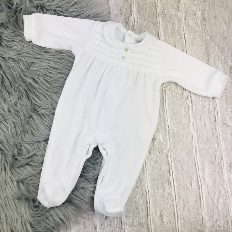 babidu White Velour Sleepsuit