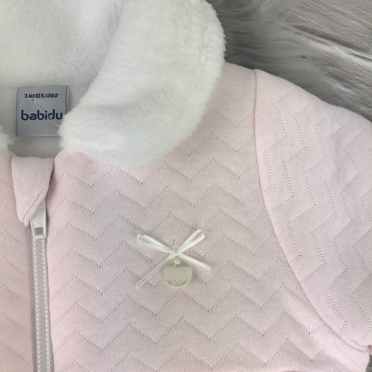 Baby Pink Quilted Coat Ribbon