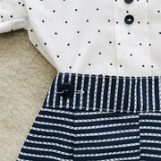 Navy Blue Shorts & White Shirt Traditional Spanish Set