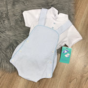 Light Blue Striped Romper & Shirt Set