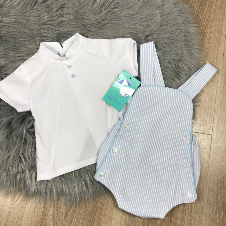 Light Blue Striped Romper & Shirt Set B
