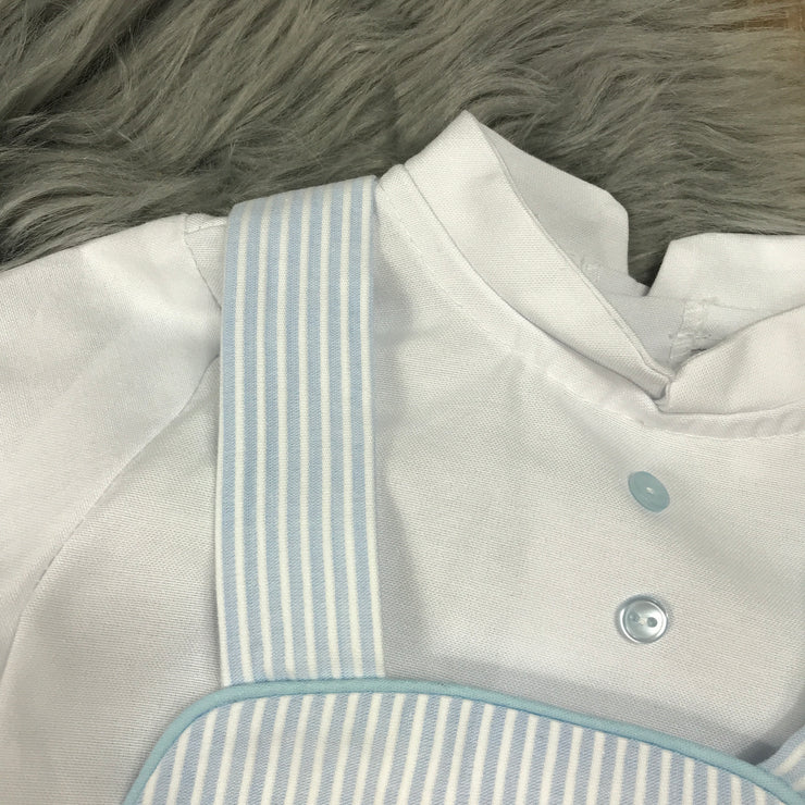 Light Blue Striped Romper & Shirt Set Close