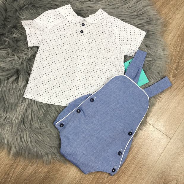 Demin Blue Romper & Shirt Set Close