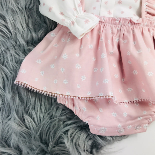 Pink & Cream Two Piece Spanish Dress Set Close